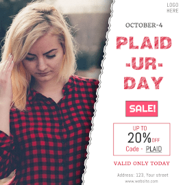 Online Editable Red Plaid-Ur-Day October 4 Fashion Sale Instagram Ad
