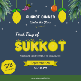 Online Editable First Day of Sukkot Citron Wishes Instagram Ad