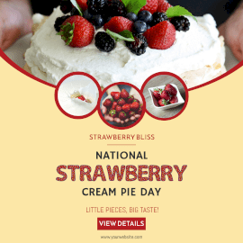Online Editable National Strawberry Cream Pie Day Instagram Ad