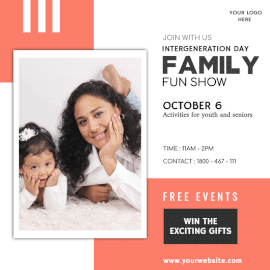 Online Editable Intergeneration Day October 6 Family Event Social Media Post