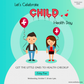 Online Editable Child Health Day Illustrated Awareness Social Media Post