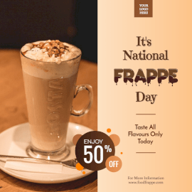 Online Editable National Frappe Day October 7 Promotional Social Media Post