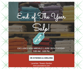 Online Editable End Of The Year Sale Facebook Post
