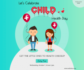 Online Editable Child Health Day Illustrated Awareness Facebook Post