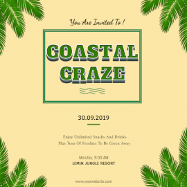 Online Editable Coastal Craze Party Invitation