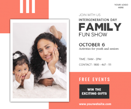 Online Editable Inter-generation Family Fun Day October 6 Facebook Post