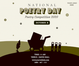 Online Editable National Poetry Day October 20 Poetry Event Facebook Post
