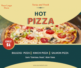 Online Editable Hot Pizza Ad Facebook Post