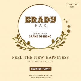 Online Editable Brady Bar Opening Social Media Post