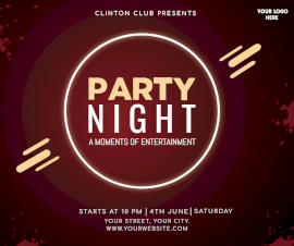 Online Editable Night Club Party Facebook Post