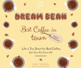 Online Editable New Coffee Shop Ad Facebook Post