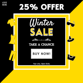 Online Editable Winter Sale Offers Social Media Post
