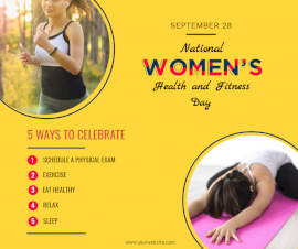 Online Editable National Women's Health and Fitness Day September 28 Informational Facebook Post