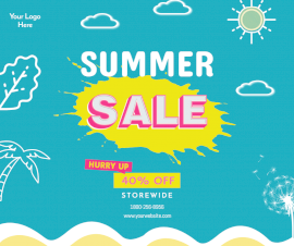 Online Editable Summer Sale Ad Facebook Post