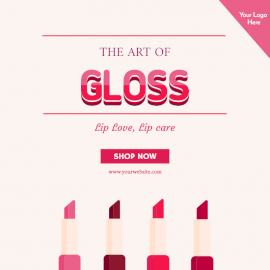 Online Editable Gloss Lipstick Promotion Social Media Post