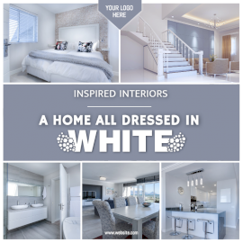 Online Editable White Home Interiors 5 Grid Photo Collage