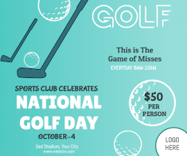 Online Editable National Golf Day October 4 Event Facebook Post