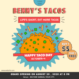 Online Editable Taco Day October 4 with Illustration Instagram Ad
