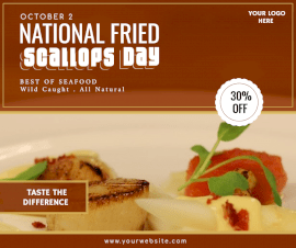 Online Editable National Fried Scallops Day Facebook Post