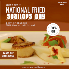 Online Editable National Fried Scallops Day Social Media Post