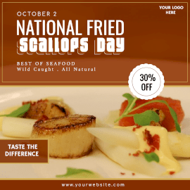 Online Editable National Fried Scallops Day October 2 Instagram Ad