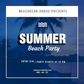 Online Editable Summer Beach Party Instagram Ad
