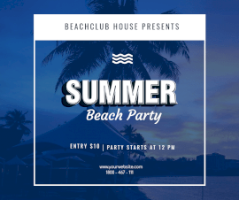 Online Editable Summer Beach Party Facebook Post