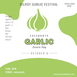 Online Editable White and Green Garlic Lovers Day October 6 Instagram Ad