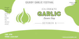 Online Editable White and Green Garlic Lovers Day October 6 Twitter Post