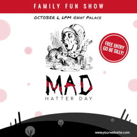 Online Editable Mad Hatter Day October 6 Social Media Post
