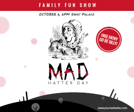 Online Editable Mad Hatter Day October 6 Facebook Post