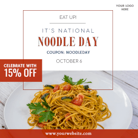 Online Editable National Noodle Day October 6 Instagram Post