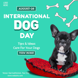 Online Editable Cyan International Dog day Instagram Ad