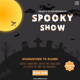 Online Editable Spooky Show Social Media Post