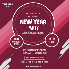 Online Editable New Year Eve Party Instagram Ad