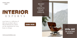 Online Editable Interior Design Offer Promotion Twitter Post