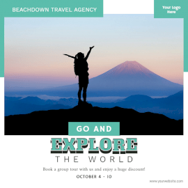 Online Editable Travel Agency Promotion Social Media Post