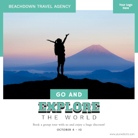 Online Editable Travel Agency Promotion Instagram Ad