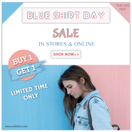 Online Editable Blue Shirt Day Sale Social Media Post