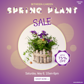Online Editable Spring Plant Sale Social Media Post