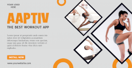 Online Editable Fitness App Facebook Ad post