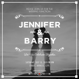 Online Editable Jennifer and Barry Wedding Invitation Instagram Ad