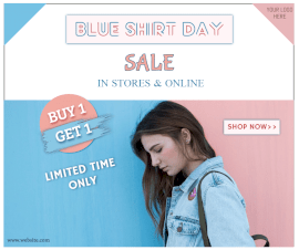 Online Editable Blue Shirt Sale Pink and Blue Sale Facebook Post