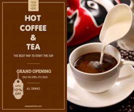 Online Editable New Cafe Outlet Opening Facebook Post