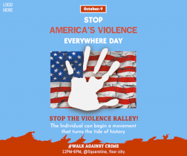 Online Editable Stop America Violence Everywhere Day October 9 Facebook Post