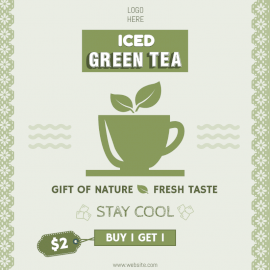 Online Editable Iced Green Tea Offers Social Media Post