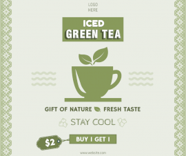 Online Editable Iced Green Tea Offers Facebook Post