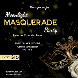 Online Editable Masquerade Party Instagram Ad