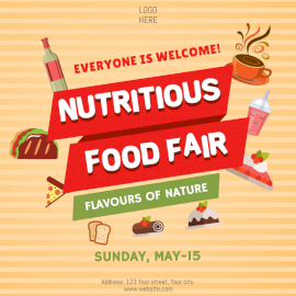Online Editable Nutritious Food Fair Social Media Post