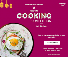 Online Editable Cooking Competition Facebook Post